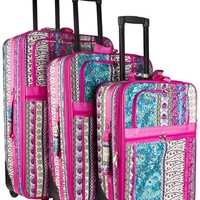 World Traveler Pink Boho Patchwork 3 Piece Expandable Luggage Set