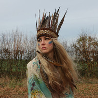 Beaded leather and feather headdress by rougepony on Etsy