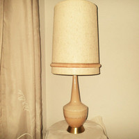 Table lamp Mid Century Modern  Drip glaze table lamp, Beige tones flowing drip glaze , tall long neck body with matching large shade