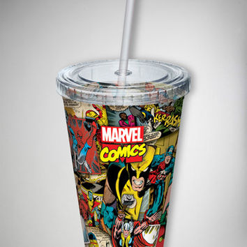 Marvel Comic Collage Cup with Straw