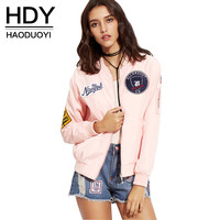 HDY Haoduoyi Sweet Pink Women Jackets Autumn Casual Slim Preppy Style Outwear Embroidery Contrast Zipper Fly Bomber Jacket