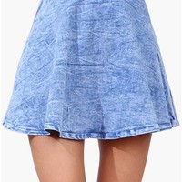 Acid Wash Skater Skirt - Denim