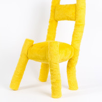 Stuffed Chair, Large, Fuzzy Yellow – Project No. 8
