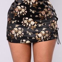 Midnight Chinatown Satin Skirt - Black