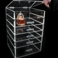 KK Clear plastic makeup organizer with drawers