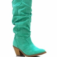 faux-suede-cowgirl-boots CORAL MAGENTA MINT - GoJane.com