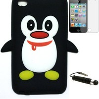 Apple iPod 4 Penguin Silicone Case, Screen Protector and WirelessGeeks247 Metallic Detachable-Stylus Pen with Anti Dust Plug-Black-Cute Red Scarf