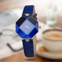 Women Colorful Hexagonal Mirror Dial And Crystal Watch