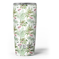 The Tropical Flamingo Jungle Scene - Skin Decal Vinyl Wrap Kit compatible with the Yeti Rambler Cooler Tumbler Cups