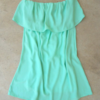 Ruffled Mint Tunic [4212] - $27.00 : Vintage Inspired Clothing & Affordable Dresses, deloom | Modern. Vintage. Crafted.