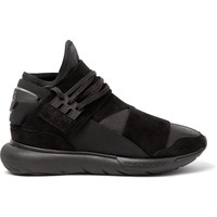 Y-3 - Qasa Suede-Trimmed Leather High-Top Sneakers