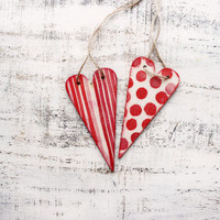 Wooden boho heart ornaments bridal shower baby shower boho wedding favors white red polka dot stripes