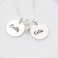 Hand Stamped Jewelry - Hand Stamped Necklace- Double Discs - Name Necklace - Gift for Mom