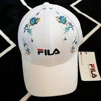 FILA summer new heavy embroidery baseball cap simple and stylish sports sun hat for both men and women