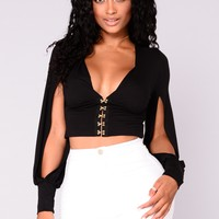 Stacy Hook And Eye Top With Sleeve Slits - Black