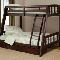 Twin Over Full Bunk Bed with Ladder & Storage Drawers in Espresso Wood Finish