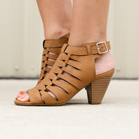 Side By Side Caged Heel - Tan
