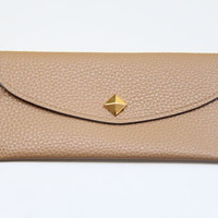Nude Leather wallet with golden pyramid by Pikamo on Etsy