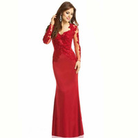 Red Lace Prom Dresses,Long Sleeve Satin Prom Dress,Evening Dresses
