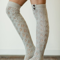 Gray Knitted Boot Socks, Lacy Knit Socks, Boot Toppers, Over the Knee Socks, Knitted Fashion Accessories (BS-17)