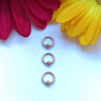 """Tiny Rose Gold 16g 1/4"""" hoop captive bead ring body jewelry ear eyebrow rook nose smiley helix lip nipple"""