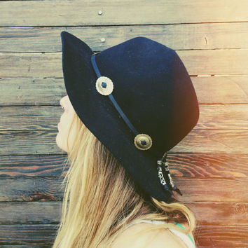 Western // South Western// Rocker // Cow Girl // Boho // Hippie // Gypsy Black Leather Hat Band with Conchos + Silver Metal Charm Beads