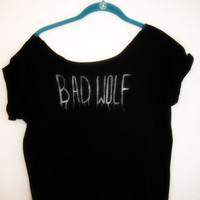 FREE SHIPPING Doctor Who Bad Wolf Rose tyler  flowy shirt off the shoulder s, m, l, xl, xxl