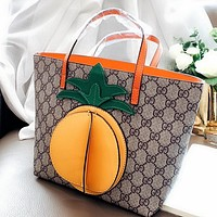 GUCCI Fashion Women Shopping Bag Leather Cute Pineapple Mini Handbag Tote Satchel