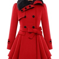 Stylish Turn-Down Neck Long Sleeve Spliced Button Design Lace-Up Coat For Women