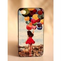 [grlhx110017]Unique Colorful balloon Girl Hard Cover Case For Iphone 4/4s/5