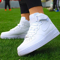 NIKE AF1 Air Force One men and women pure white high-top casual sneakers shoes
