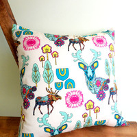 Woodland Utopia with Moose and Deer Pillow Case, 14X14 Cream, Shabby Chic with Envelope Back, Home Decor, Romantic