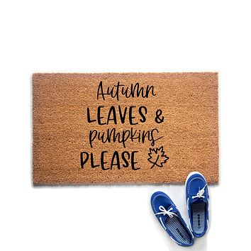 Autumn Leaves and Pumpkins Please Doormat