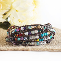"""HOLIDAY CLEARANCE SALE! The Cheerful in Colors - 34"""" Multicolor Beaded Brown Leather Wrap Bracelet"""