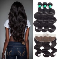 "Ear To Ear Lace Frontal Closure With Bundles Brazilian Body Wave Human Hair Bundles With Closure 13""x 4"" Lace Front Non Remy"