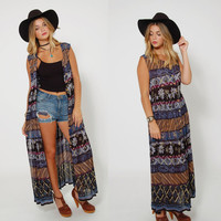 Vintage 90s ETHNIC Printed DUSTER Boho MAXI Dress Festival Layering Piece Striped Hippie Dress