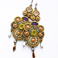Soutache dangle earrings. Bohemian colorful jewelry. Soutache handmade earrings.