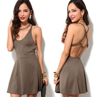 Brown Halter Strappy Sling Knot Back Skater Dress