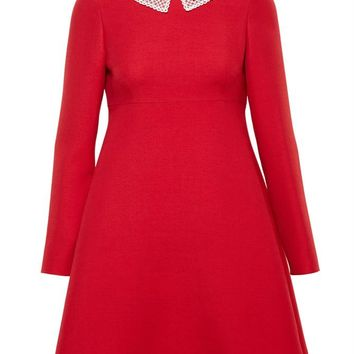 Wool-Silk Blend Dress with Pearl Collar - VALENTINO