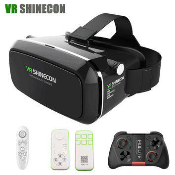 irtual Reality 3D Glasses google cardboard VR Headset Head Mount for 3.5-6.0' Smartphones+Bluetooth Remote Control