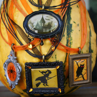 Choice of Halloween Picture Frame Necklace Owl Witch Spider Haunted House Pendant