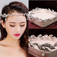 2017 Newest Gold Wedding Bridal Headband Hair Jewelry Waterdrop Peandent Leaf Tiaras And Crowns Bridal Hair Accessories