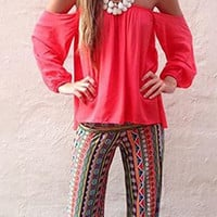 Multi Colored Flare Boho Summer Elastic Palazzo Pants