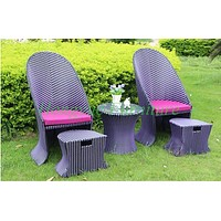 Outdoor patio high back rattan chairs with table 4+1 furniture sale