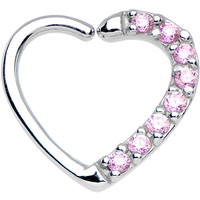 16 Gauge Pink CZ Heart Left Closure Daith Cartilage Tragus Earring   Body Candy Body Jewelry