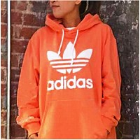 ADIDAS ORANGE HOODIE FASHION WOMEN MEN LONG SLEEVE SWEATER TOP