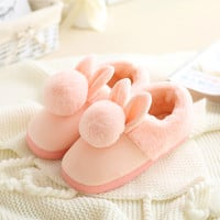 Women shoes Pink Slippers Women and men Cotton Slippers In Winter House Lovely Rabbit Indoor Slippers Pregnant Woman