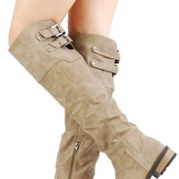 Qupid Relax01x Taupe Over The Knee Buckled Riding Boots shop Boots at MakeMeChic.com