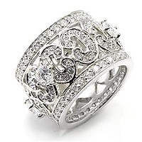 Silver Band Ring Womens 7X182 Rhodium 925 Sterling Silver Ring with CZ