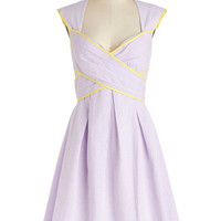 ModCloth Pastel Long Cap Sleeves A-line Give Me Amour Dress in Lilac